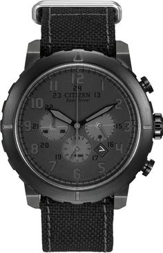 Citizen Eco-Drive Military Chronograph All Black Nylon Mens Watch CA4098-06E #Citizen #Dress