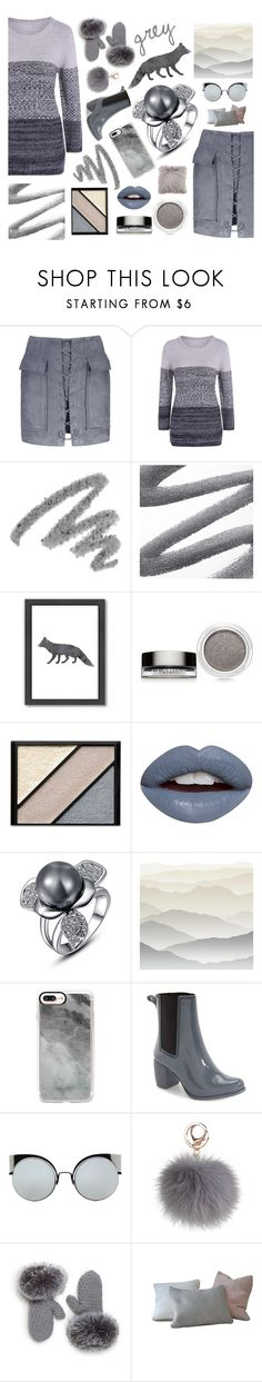 """""""Grey Fox"""" by beanpod ❤ liked on Polyvore featuring Yves Saint Laurent, Americanflat, Clarins, Elizabeth Arden, Nevermind, York Wallcoverings, Casetify, Jeffrey Campbell, Fendi and Saks Fifth Avenue"""