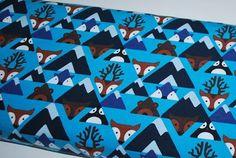 Jersey renards/cerfs fond bleu - par 50 cm