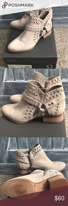 Gorgeous! Vince Camuto taupe booties These are SO CUTE! Taupe suede Vince Camuto booties. Side zipper with fun stylish cutouts and detail. Just too big!😭 The suede is so soft and the bootie is so comfy when I wore them around the house trying them out. But my heel slipped out, too big for me without socks. Never worn! Vince Camuto Shoes Ankle Boots & Booties