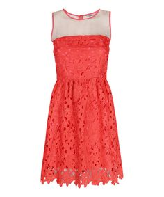 Look at this Coral Lace Sheer-Panel Sienna Sleeveless Dress on #zulily today!