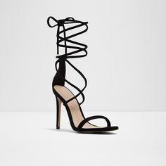 Aselinia Black Nubuck Women's Heeled sandals | Aldoshoes.com US Beige Heels, Aldo Shoes, Heeled Sandals, How To Look Pretty, Stiletto Heels, Lace Up, Fashion Outfits, Leather, How To Wear