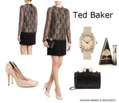 Ted Baker Style  ELKE Lace detail dress  NORVA Leather court shoe  KARSIE Glitter frame clutch  SLITHEY Circle bracelet watch  LOTTY Purse spray fragrance  https://www.facebook.com/pages/Fashion-Trends-and-Discounts/137797606390386?ref=tn_tnmn