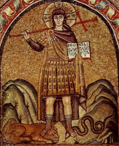 This mosaic is Christ pictured as a hero. It is located in Cappella Arcirescovile, Ravenna, Italy. Christ is standing in the hills in a Romanesque way with long hair. His right foot is on top of a tame lion and his left foot on top of a serpent. Red, green and gold is used very nicely with contour and balance. Christ is firm and wearing the garb of an emperor. It is like Justinian's Paludamentum. The art is considered a masterpiece and accomplished by an anonymous artist in the Byzantium…