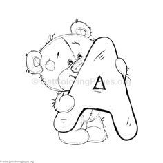 Teddy Bear Alphabet Letter A Coloring Pages Alphabet A, Animal Alphabet, Doodle Alphabet, Alphabet Design, Spanish Alphabet, Preschool Alphabet, Alphabet Crafts, Teddy Bear Coloring Pages, Letter A Coloring Pages