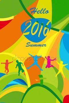 Download - Rio 2016 Happy Jumping kids, Summer color and text hello Summer. Cover design. Olympic Games 2016. Sport Brazil. Rio 2016 Brazil concept. Rio 2016 Summer wallpaper. Rio 2016 cover. — Stock Illustration