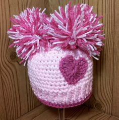 Perfect little present just in time for Valentine's Day! Pom Pom Crochet Hat 03 Months by jspirik, $17.00 on Etsy
