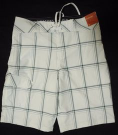 1f65d86379 Mossimo Below Knee Board Shorts Swim Trunks True White Striped Plaid 30  Waist