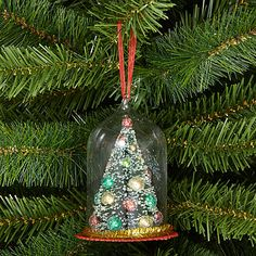 Buy John Lewis Jingle Bell Tree in Glass Dome Bauble, Multi Online at johnlewis.com