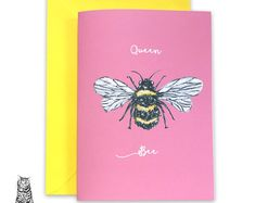 Surface Pattern Designs by TasherellaKitty on Etsy Queen Bee Card - Painted Bee
