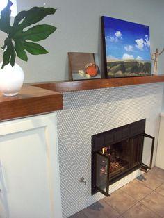 Penny tile fireplace
