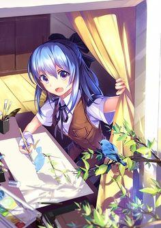 ✮ ANIME ART ✮ artist. . .painting. . .smile. . .blue hair. . .window. . .bird. . .tree limb. . .sunlight. . .cute. . .kawaii