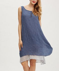 Look at this Simply Couture Blue Button-Accent Layered Dress on #zulily today!