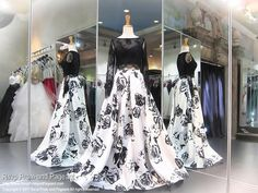 Two-Piece Black/White Printed Lace Ball Gown Prom Dress - Rsvp Prom and Pageant Hoco Dresses, Black Prom Dresses, Mermaid Prom Dresses, Pageant Dresses, Dance Dresses, Homecoming Dresses, Sexy Dresses, Dress Outfits, Lace Ball Gowns