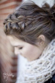 braided hair messy bun
