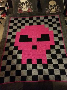 granny square skull pixel blanket #crochet #pink #rock #cool #checkered #pattern