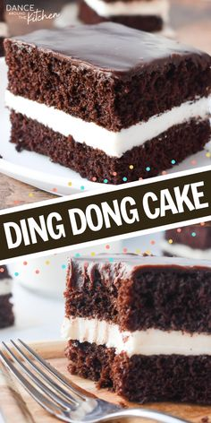 This Ding Dong Cake has chocolate cake layers a creamy filling and is topped with a chocolate ganache It s like eating a Hostess Ding Dong but better DingDong ChocolateCake LayerCake Cake Easy Cake Recipes, Sweet Recipes, Baking Recipes, Dessert Recipes, Kitchen Recipes, Just Desserts, Delicious Desserts, Yummy Food, Desserts Keto