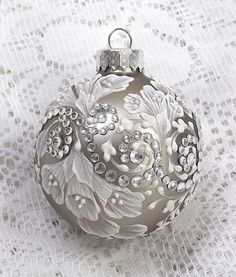 Champagne Hand Painted White MUD Texture Design Ornament with Bling 302