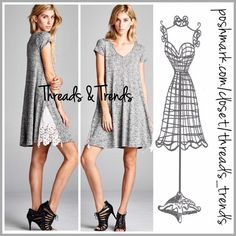 Casual Lace Inlay Dress The perfect casual V-neck, short sleeve spring/summer dress in heather grey. Featuring a textured cotton with lace inlay detail at hemline. Great comfy everyday wear pair with sandals, flip flops or cute canvas sneakers. Size S, M, L Threads & Trends Dresses