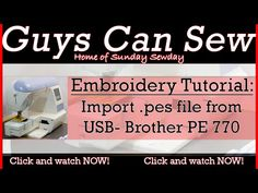 Brother PE-770 Embroidery Machine Tutorial: How to use a USB for .pes file import - YouTube