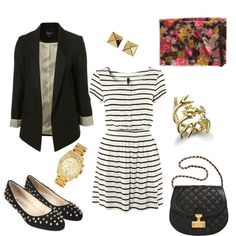 Studs, Stripes and Flowers - great work outfit