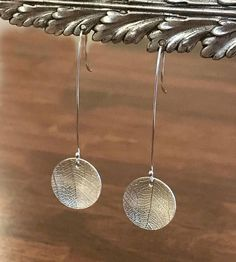Sterling Silver, Hand Cut and Embossed, Leaf Embossed Earrings, Long Disk Earrings