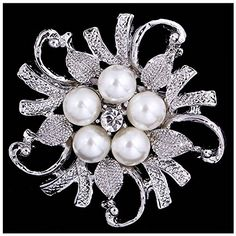 LAYs 1pc Camellia Pearl Rhinestone Brooch Pin Vintage Women Jewelry Gifts Accessories White *** You can find out more details at the link of the image.Note:It is affiliate link to Amazon.