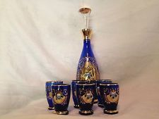 Cobalt Blue Hand Painted Heavy Gold Trimmed Bohemian Decanter With Six Cordials
