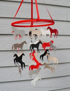 Horse Decorative Baby Mobile in Red Black by whimsicalaccents, $65.00