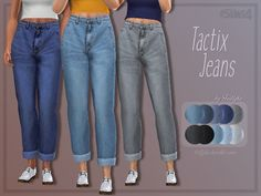 A high-waisted, slightly cropped pair of jeans with realistic texture.  Found in TSR Category 'Sims 4 Female Everyday'