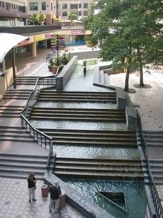this step feature is at Oakland City Center shopping district Landscape And Urbanism, Urban Landscape, Landscape Design, Garden Design, Architecture Design, Water Architecture, Urban Furniture, Urban Planning, Urban Design