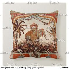 Antique Indian Elephant Tapestry Throw Pillow