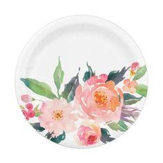 Watercolor Pink Peach Flower Bouquet Paper Plate @zazzle #junkydotcom June 12 2016 32x  sc 1 st  Pinterest & Pink Red Orange Junky\u0027s Flower Plate #junkydotcom   Zazzle   Pinterest