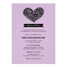 Simple and cute wedding rehearsal and dinner invites feature a floral heart, monogram banner, a unique creative wording intro, modern type, and a pattern of flowers on the back. Lavender / lilac purple and black colors. CLICK HERE to view other rehearsal dinner invitation designs by Plush_Paper. #wedding #rehearsal #dinner #modern #poem #verse #heart #love #monogram #whimsical #chic #banner #cute