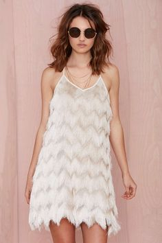 White fringe sress from Nasty Gal