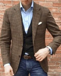 Vintage Classic Plaid Lapel Suit – verscoco Source by clothing styles Blazer Outfits Men, Mens Fashion Blazer, Mens Fashion Wear, Casual Outfits, Fashion Outfits, Style Fashion, Business Casual Men, Men Casual, Casual Styles