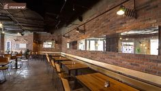 Cafe renovation using Cottage Red brick slips