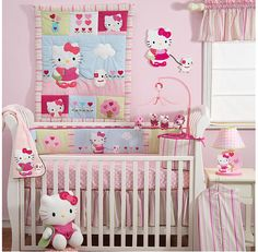 Hello Kitty and Puppy baby crib bedding by Bedtime Originals. Hello Kitty and her pet dog stroll into your nursery. Every baby girl will love Hello Kitty in pink, raspberry, blue and green. Cama Da Hello Kitty, Hello Kitty Nursery, Hello Kitty Themes, Hallo Kitty, Baby Kitty, Baby Crib Bedding Sets, Nursery Bedding, Baby Cribs, Girl Bedding