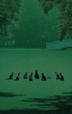 "felixinclusis: ""matou-en-peluche: Quint Buchholz The Cat's Assembly, Dark Green Aesthetic, Aesthetic Art, Aesthetic Pictures, Arte Peculiar, Matou, Slytherin Aesthetic, Nocturne, Cat Art, Oeuvre D'art"