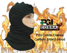 PGI Cobra Classic Carbon Shield Hood: Carbon Shield is a flame resistant fabric breakthrough based on carbon fiber technology. Considered the ultimate high-tech fabric for thermal protection and comfort. During the torch test, after about 5 seconds, traditional FR fabrics combust, severely shrinking and charring. Carbon Shield remains dimensionally stable even after 90 seconds, giving you the extra time you need to get out safely.
