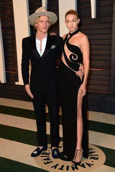 2015 Oscars: Cody Simpson with Gigi Hadid in Atelier Versace.