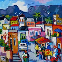 Artwork of Isabel le Roux exhibited at Robertson Art Gallery. Original art of more than 60 top South African Artists - Since Landscape Art, Landscape Paintings, Landscapes, African Art Paintings, Flower Collage, South African Artists, Naive Art, People Art, Whimsical Art