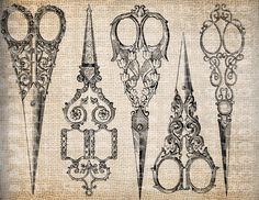 Antique Sewing Scissors Ornate Sew Seamstress  Illustration Digital Download for Papercrafts, Transfer, Pillows, etc Burlap No. 3585. $1.00, via Etsy.