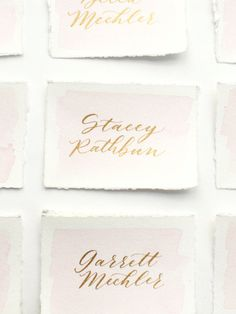 Custom watercolor modern calligraphy placecards / escort cards / name cards/ bouquet tags on watercolor paper