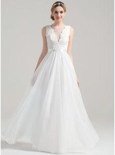A-Line/Princess Scoop Neck Floor-Length Tulle Lace Wedding Dress With Bow(s) (002084723)