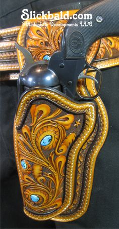 Personal Set- 1 of 3 holsters for this set: Left, Right and Cross Draw www.Slickbald.com #SASS #Slickbald #leather