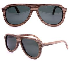 Love these handmade vintage style aviators with polarized lenses and zebra wood ~ TAKEMOTO on Etsy