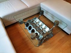 """Rover V8 Engine - Coffee/Occasional Table 95% Upcycled """"Top Gear"""" style   eBay"""