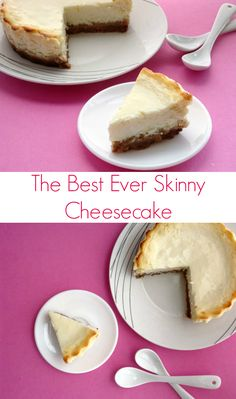 The Best Ever Skinny Cheesecake #Recipe - Seriously, this is the only healthy dessert recipe you'll ever need. It's so rich and creamy - you'd never know it was low calorie and low fat! | www.pinkrecipebox.com