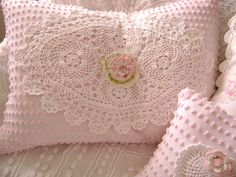 Isnt it PRECIOUS? VERY Paris Apartment and Cottage Chic Pillow made with Vintage Baby Pink Chenille and adorned with a Vintage White Crocheted Lace and a